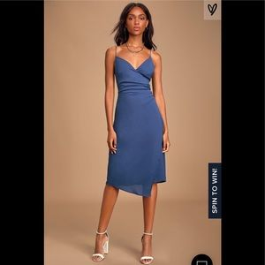 ❤️ Novalee Blue Backless Surplice midi dress new M